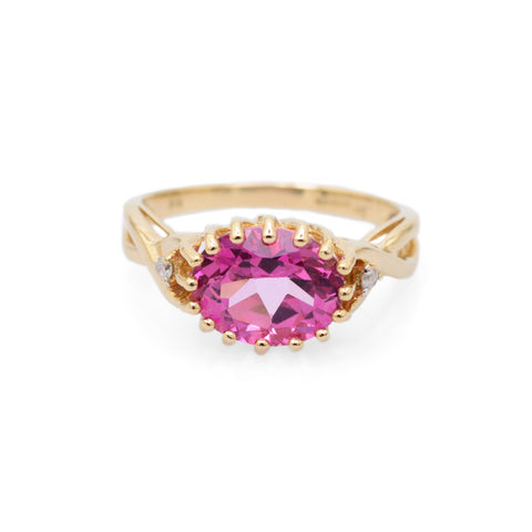 9ct Gold Pink Topaz Ring With Diamond Accents Hallmarked B'ham 2008 Size N  (Code A691)