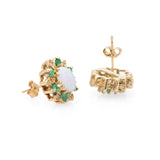 Pair Vintage 9ct Gold & Opal Earrings - Emerald & Diamond Halo For Pierced Ears  (Code A700)