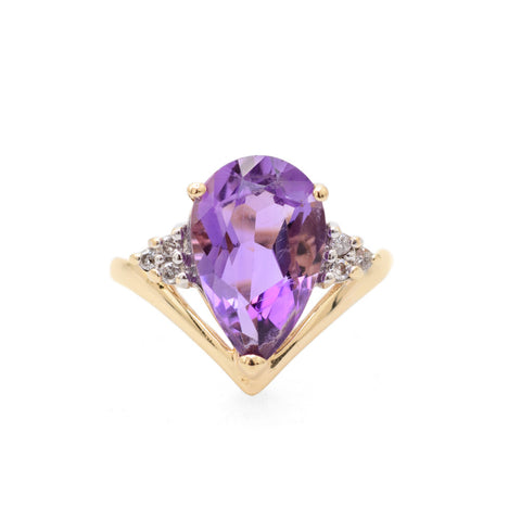 14K Gold & Pear Cut 3ct Amethyst & Diamond Chevron Band Ring Size M1/2  (Code A719)