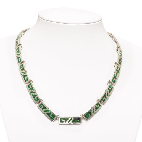 Vintage Sterling Silver Mexican Taxco Necklace With Malachite Inlay Panels (Code A739)