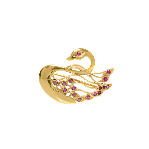 Antique 22ct Gold & Natural Ruby Set Swan Brooch/Pendant c.1920 (Code A742)
