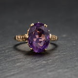 Vintage 9ct Gold & Natural Amethyst Large Solitaire Ring Hallmarked 1973  (Code A743)