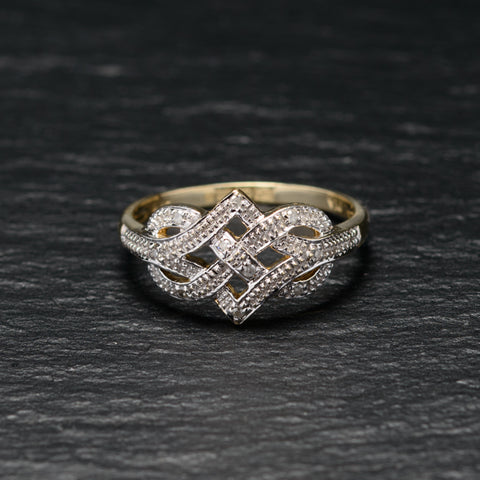9ct Gold & Diamond Endless Knot Design Love/Promise Ring Sheffield Assay Size P (Code A757)