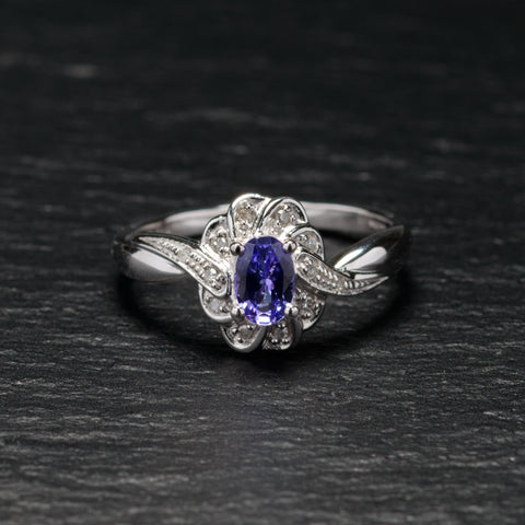 9ct White Gold Ring With Tanzanite Gemstone & Diamonds Size N (Code A758)
