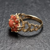 Vintage 9ct Gold & Red Precious Coral Cabochons Flower Cluster Ring London 1971 (Code A762)