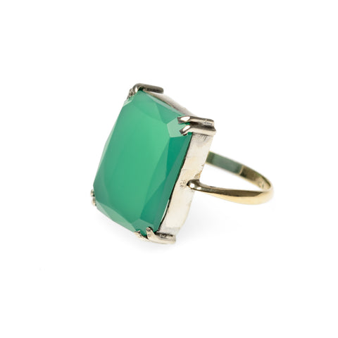 Antique 9ct Gold, Sterling Silver & Green Chrysoprase Cabochon Ring c.1920 UK L (Code A779)
