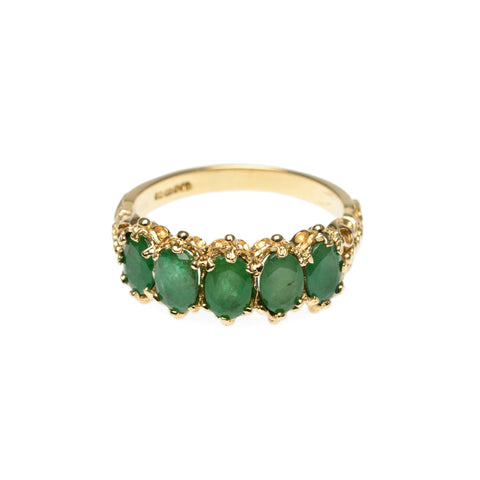 9ct Gold Ring With Five Oval Facet Cut Emeralds In Victorian Design Mount Size P (Code A780)