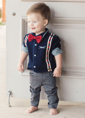 Mini Shatsu Red Bowtie Suspender Button Down (7yrs)