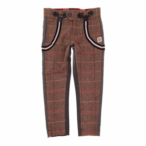 Mini Shatsu Tweed Herringbone Suspender Pants