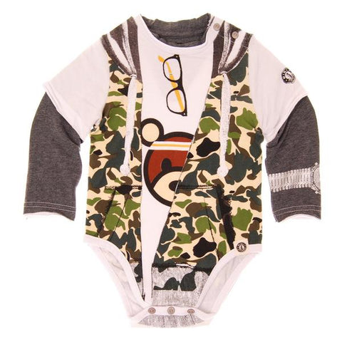 Mini Shatsu Camo Hooded Vest Bodysuit
