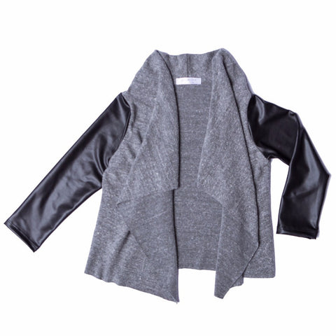 Joah Love Cecile Gray with Black Leather Sleeves Cardigan