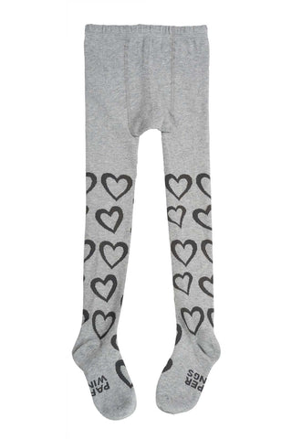 Paper Wings Grey & Charcoal Hearts Tights