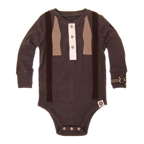 Mini Shatsu Henley Suspender and Bowtie Onesie (6M)