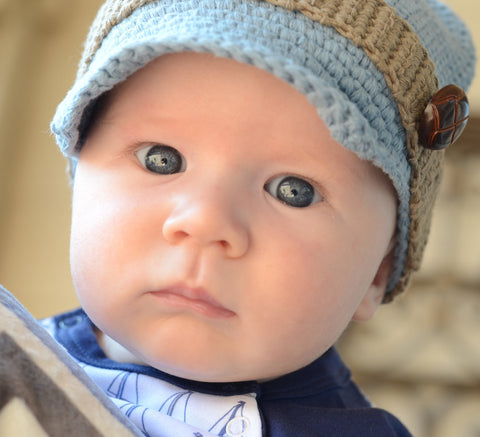 Huggalugs Blue Button Newsboy Hat