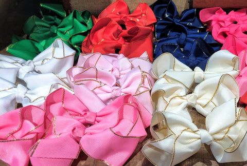 "4"" grossgrain gold trimmed bows (on alligator clip) Multiple Colors"