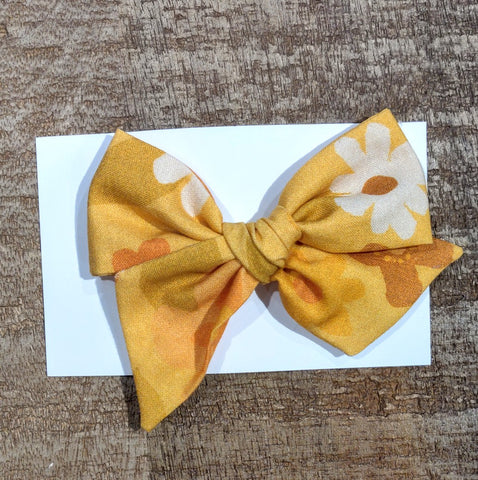 Ellia May Retro Mustard Floral Large Bow