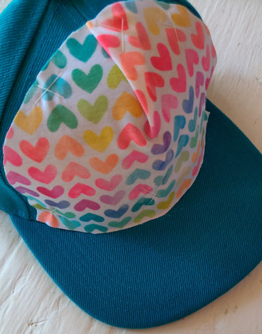 Rainbow Hearts Teal Hat