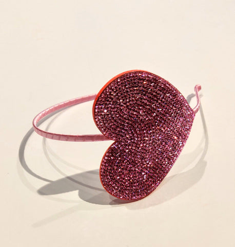 Bari Lynn Light Pink Crystal Heart Headband