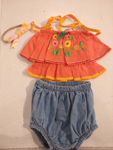 Coco and Ginger Kitty Coral Top (3-6M)