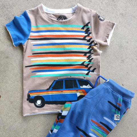 Mini Shatsu Surfboard Tower Station Wagon Tee (2T)