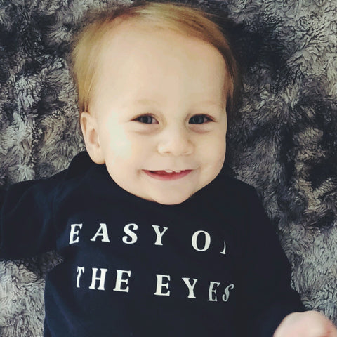 Navy Long Sleeve Easy on the Eyes Onesie