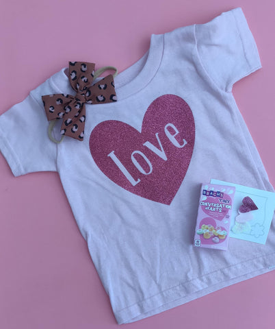 Light Pink Love Sparkle Heart Tee