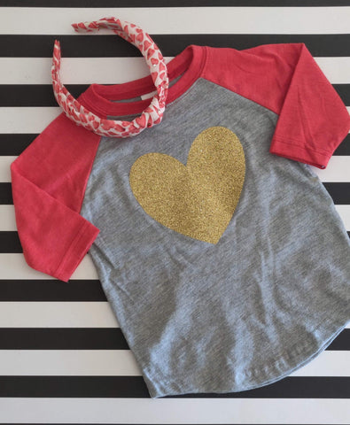 Gold Sparkle Heart Raglan