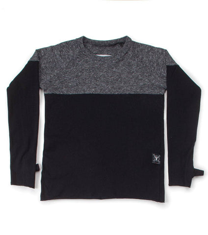 Nununu Long Sleeve Colorblock Charcoal T Shirt