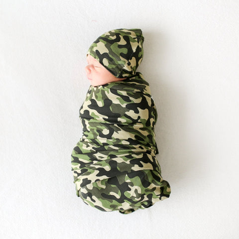 Posh Peanut Cadet Camo Infant Swaddle & Beanie Set
