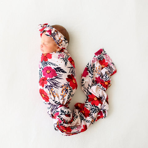Posh Peanut Chloe Floral Swaddle & Headwrap Set