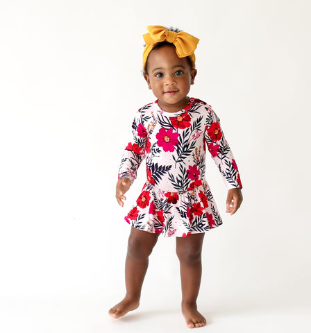 Posh Peanut Chloe Ruffled Twirl Long Sleeve Bodysuit (0-3M)