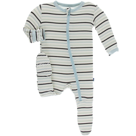 KicKee Pants Tuscan Afternoon Stripe Zippered Footie
