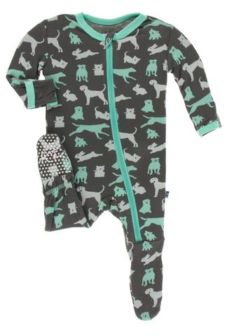 KicKee Pants Stone Domestic Animals Zippered Footie