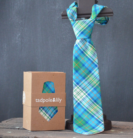Tadpole & Lily Deep Green Plaid Tie