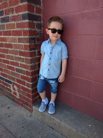 Hipster Baby Hand Distressed Denim Shorts
