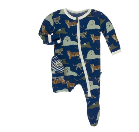 KicKee Pants Flag Blue Big Cats Zippered Footie