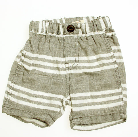 Bitz Kids Charcoal Houndstooth & White Striped Shorts (6-12M)