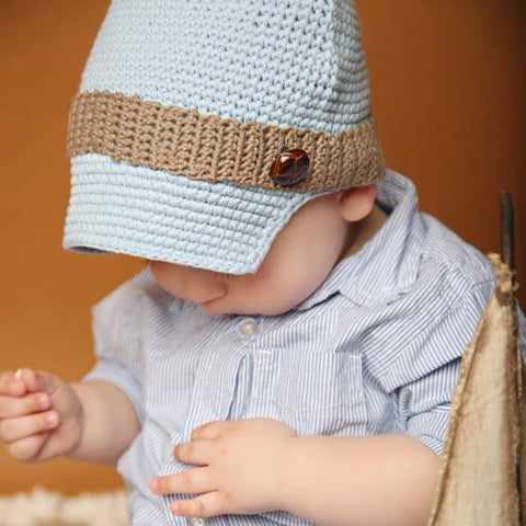 Huggalugs Blue Button Newsboy Hat (2-6yrs)