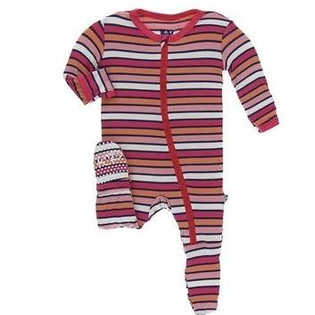 KicKee Pants Botany Red Ginger Stripe Zippered Footie