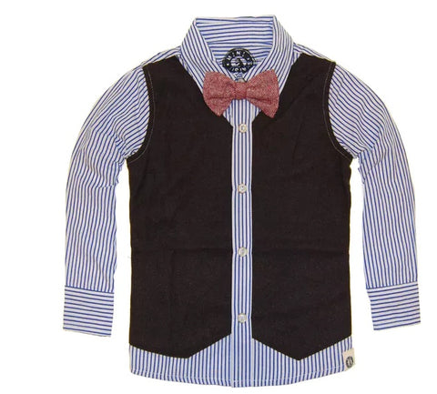 Mini Shatsu Vest & Bowtie Button Down