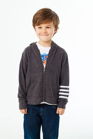 Chaser Vintage Black Zippered Striped Sleeve Hoodie (5yrs)