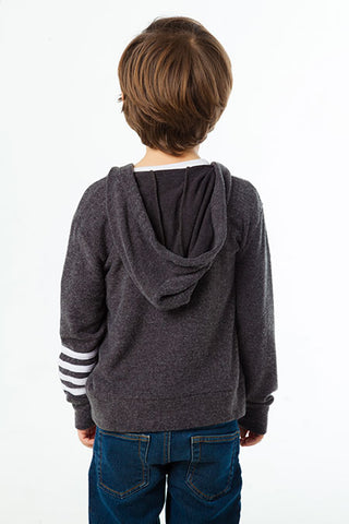 Chaser Vintage Black Zippered Striped Sleeve Hoodie