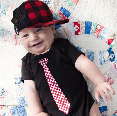 Hipster Baby Red Checker Tie Short Sleeve Snapsuit