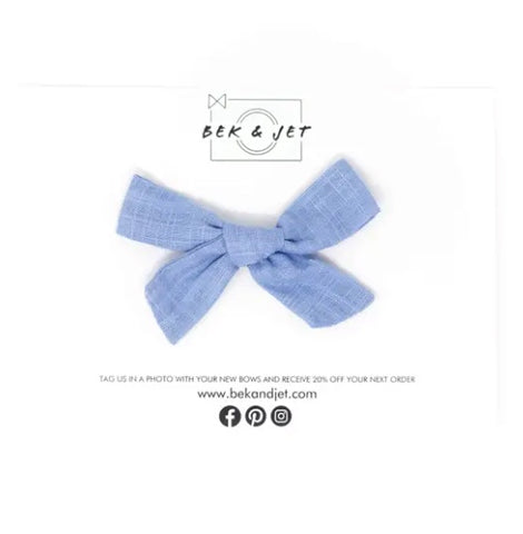 Cornflower Blue Skinny Bow (Clip or Headband)