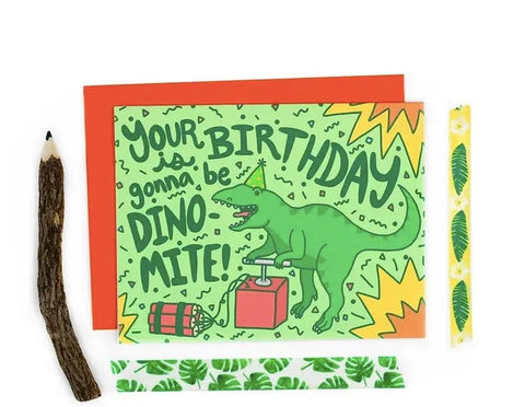 Turtle Soup Dino Mite T Rex Birthday Card