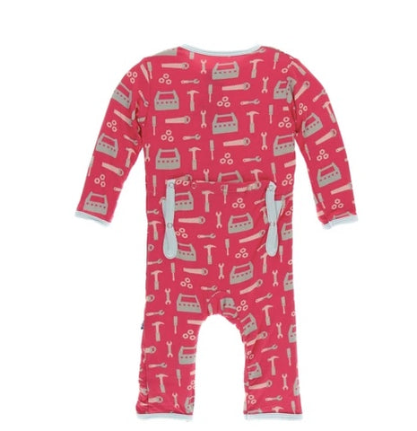 KicKee Pants Flag Red Construction Zippered Coverall