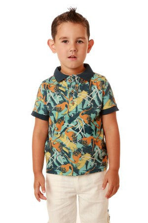 Fore !! Axel & Hudson Wild Feather Flamingo Polo (18-24M)