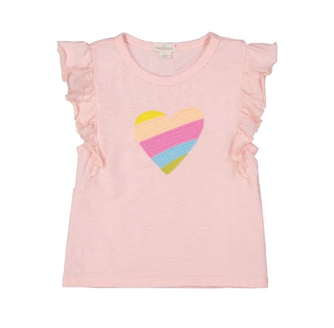 Everbloom Embroidered Heart Flutter Tee