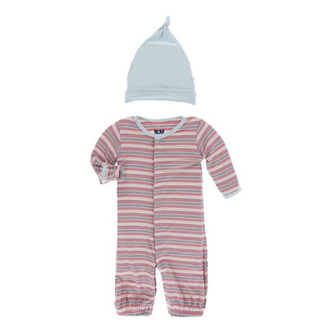 KicKee Pants India Dawn Stripe Converter Gown and Romper Hat Set