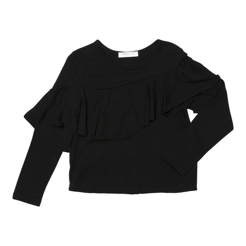 Joah Love Black Joanie Ruffle Top